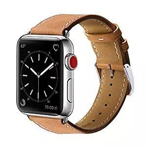 Apple watch tan genuine leather strap