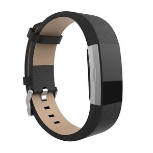 Fitbit Charge 2 Black Genuine Leather Replacement Strap