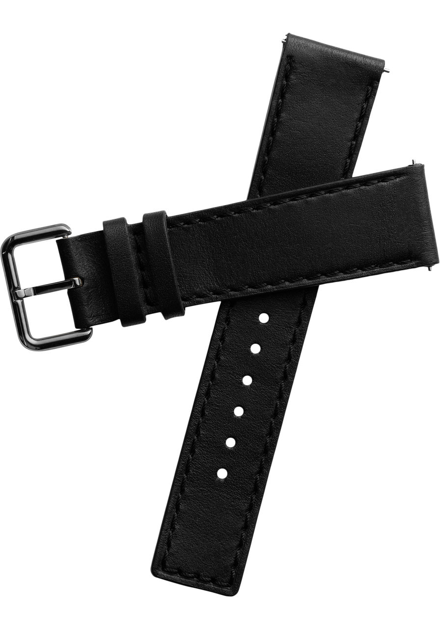 Black leather strap for Fabulously Fit 42mm Smart Watch