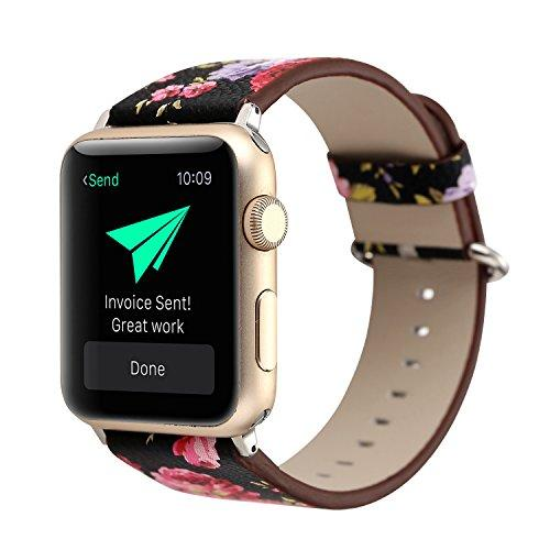 Apple watch black floral strap