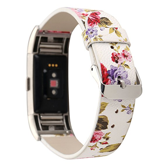 White Floral Fitbit Charge 2 Replacement Strap