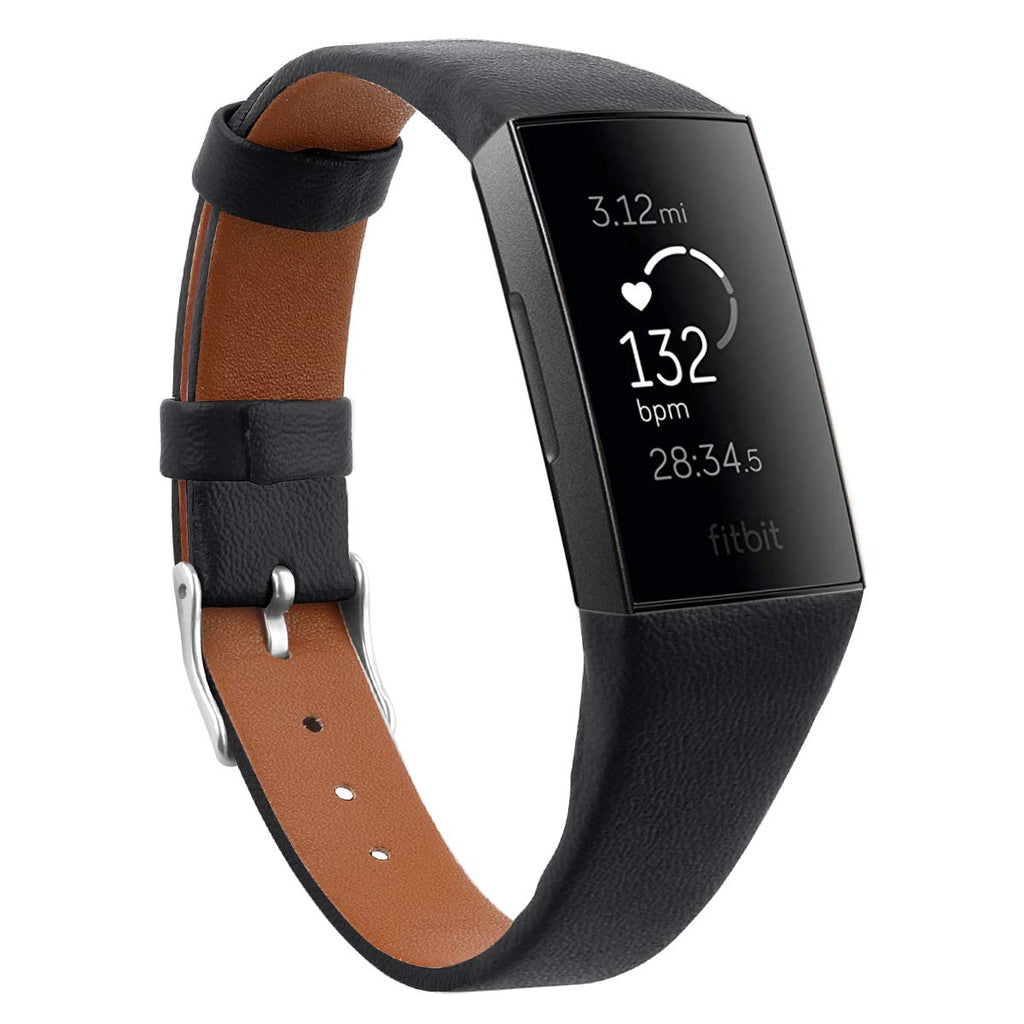 Fitbit Charge 3/4 black genuine leather strap