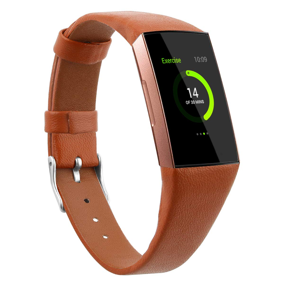 Fitbit charge 3 tan genuine leather strap