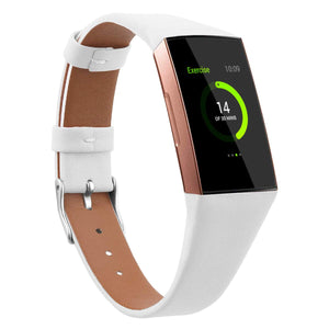 Fitbit charge 3/4 white genuine leather strap