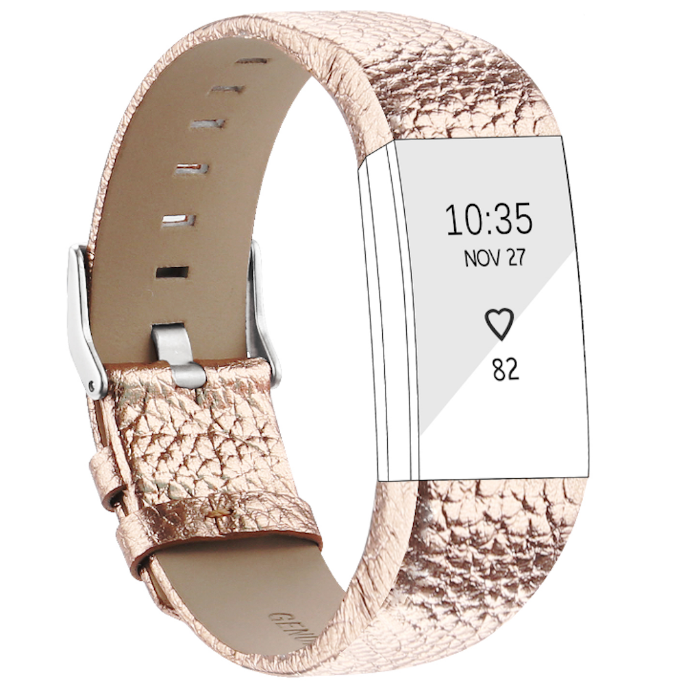 Fitbit charge 2 rose gold leather strap