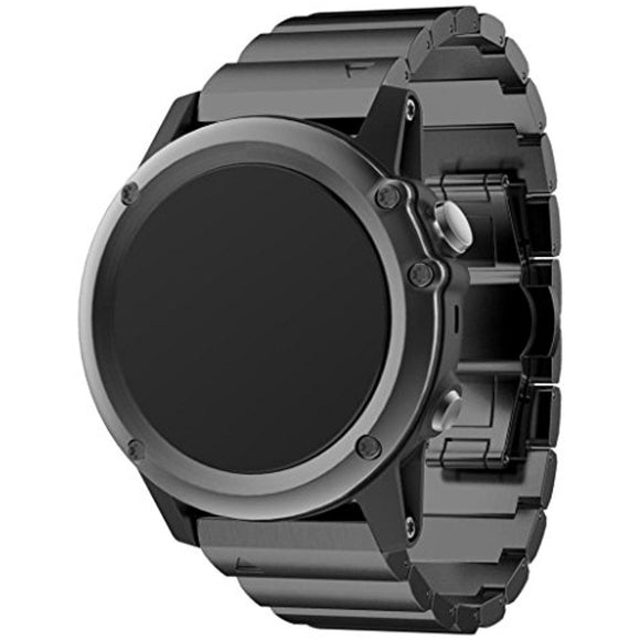 Garmin Fenix 3 Black Stainless Steel Link Replacement Strap