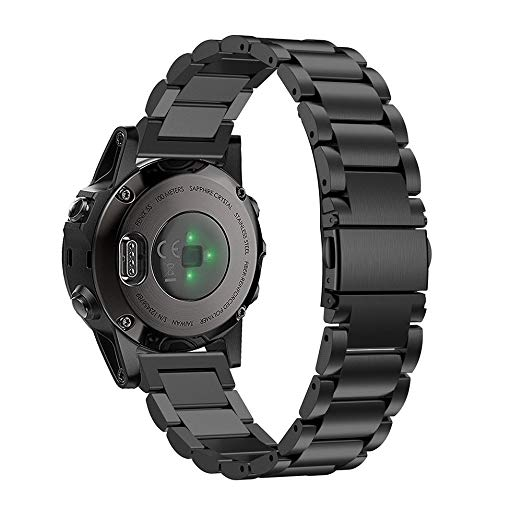 Garmin Fenix 5 Black Stainless Steel Link Replacement Strap