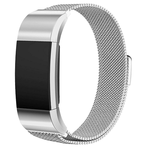 Fitbit Charge 2 Silver Metallic Replacement Strap