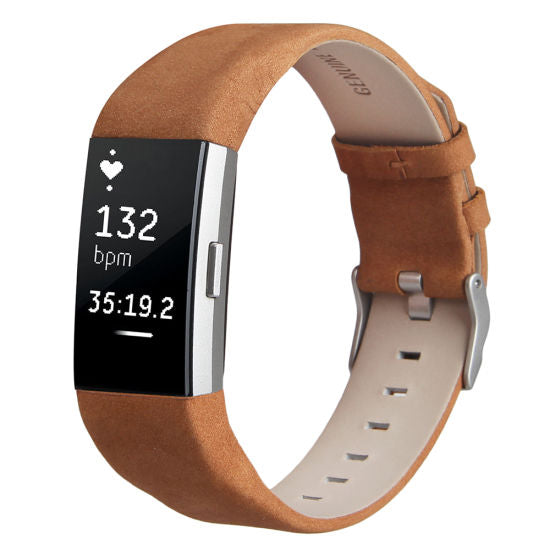 Fitbit Charge 2 Tan Genuine Leather Replacement Strap