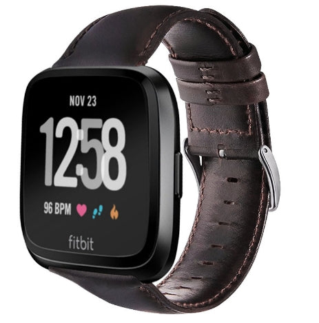 Fitbit Versa black genuine leather strap