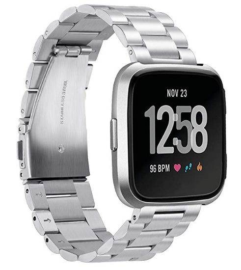 Fitbit Versa silver link stainless steel strap