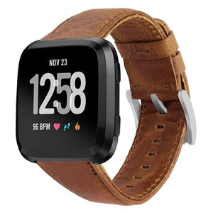 Fitbit Versa Tan Genuine Leather Replacement Strap