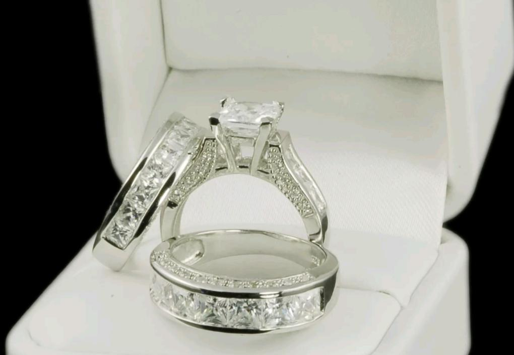 Real 925 Sterling Silver Diamond Wedding Ring Sets   Online Best Deals LL  ...
