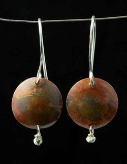 Heat-patinated copper and sterling earrings