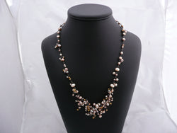 Joannie - Champagne Pearl Cluster Necklace