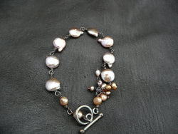 Freshwater Coin Pearl Bracelet with antiqued Sterling Silver