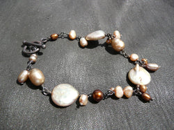 Antiqued Sterling Silver and Pearl Bracelet