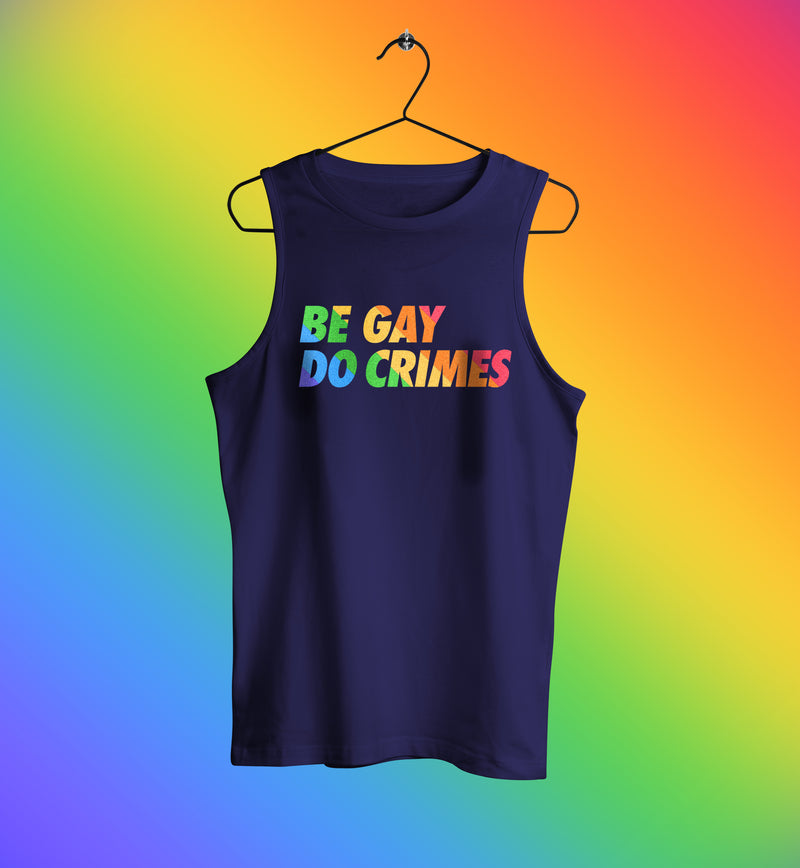 Be gay do crimes rainbow tank top muscle shirt in blue