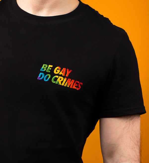 Be gay do crimes embroidered rainbow tshirt