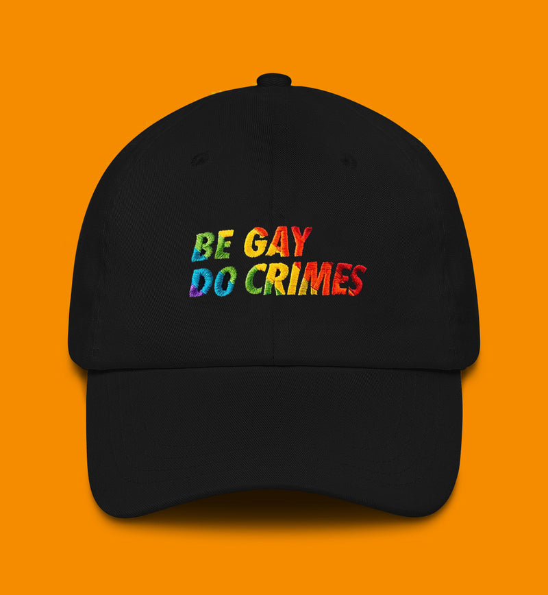 be gay do crimes embroidered in rainbow colors on a hat