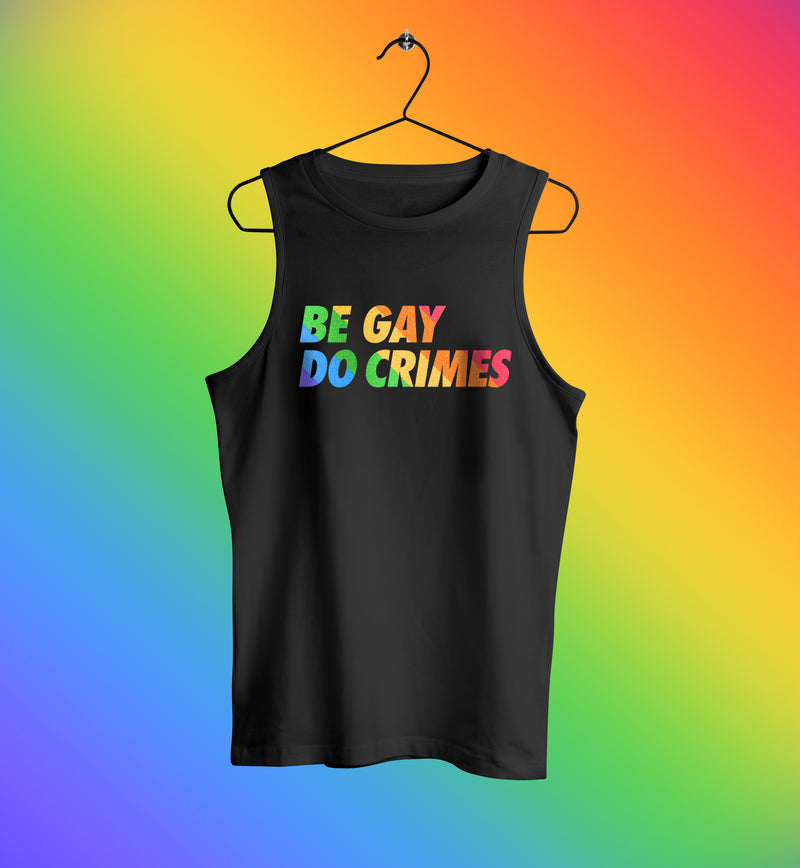 Be gay do crimes rainbow tank top muscle shirt in black
