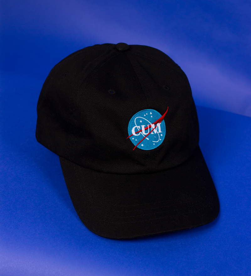 The NASA logo embroidered onto a hat but it says Cum