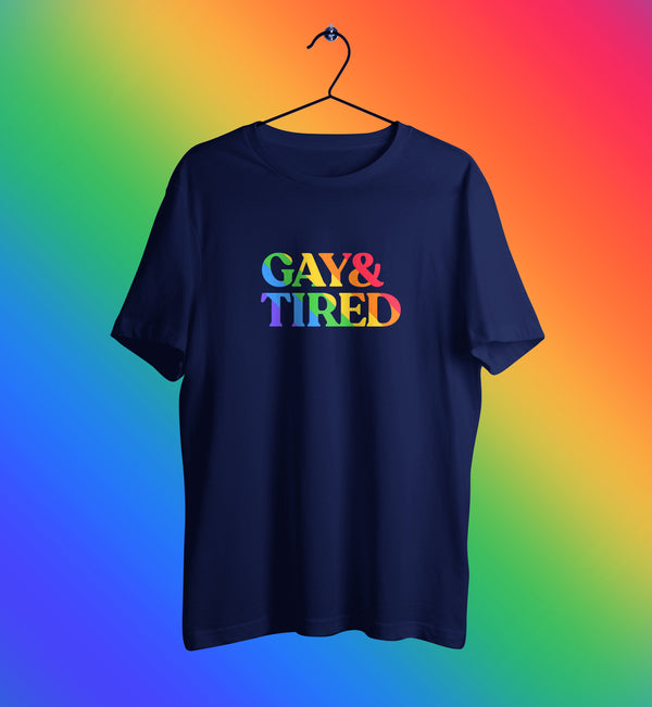 Gay and tired rainbow lgbt tshirt in blue