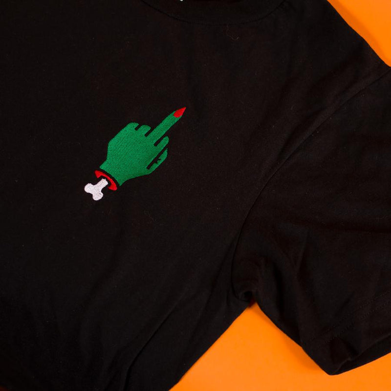 Middle Finger Embroidered T-Shirt