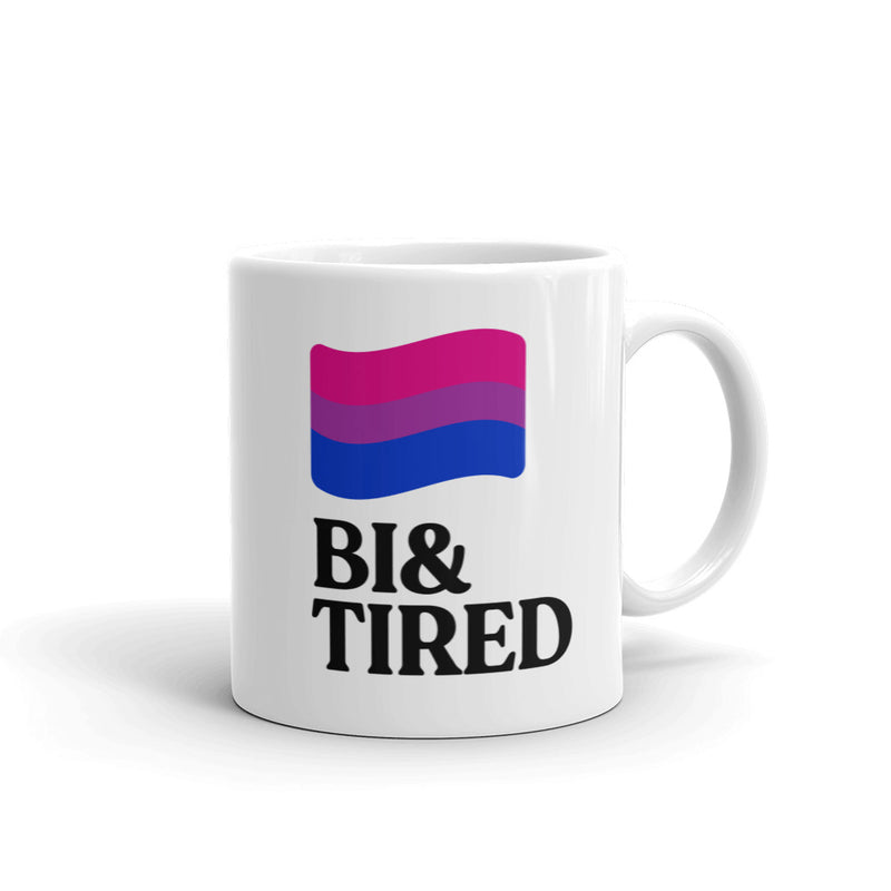 bisexual and tired with bi flag coffee mug