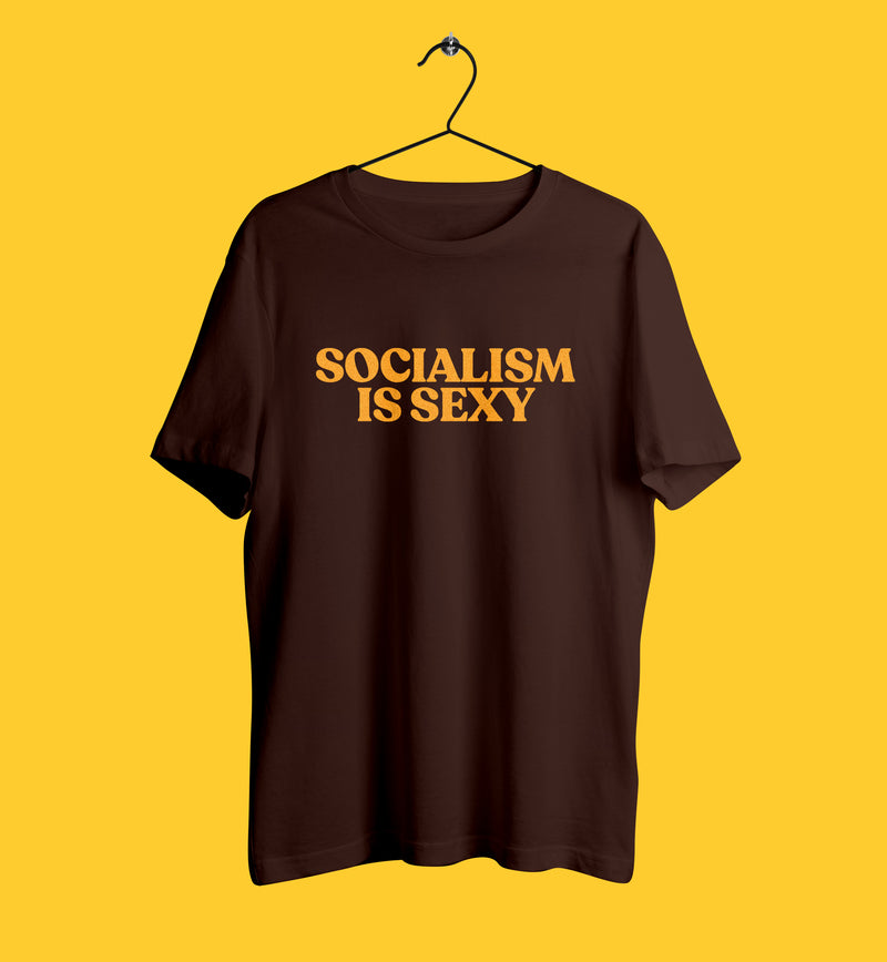 Socialism is sexy tshirt in brown