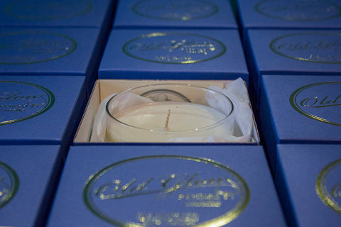 old glow candles gold foil gift boxes