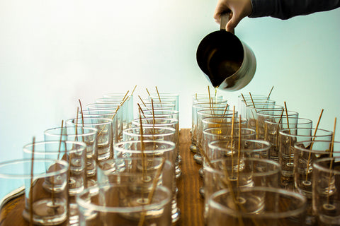 handmade soy candles being poured