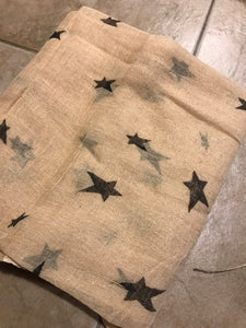 One Yard Piece of Cheesecloth with Black Stars