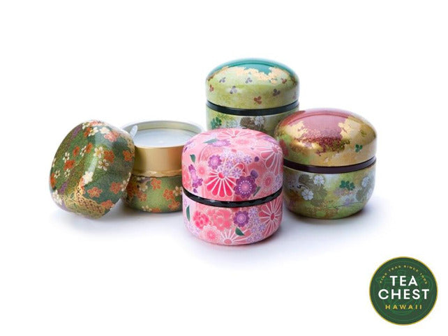Tin tea canisters in four colors by TeaChest.com