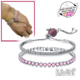 Lumini Set of 2 Diamond Bracelets: Pink Crystal Apple at Moonlight