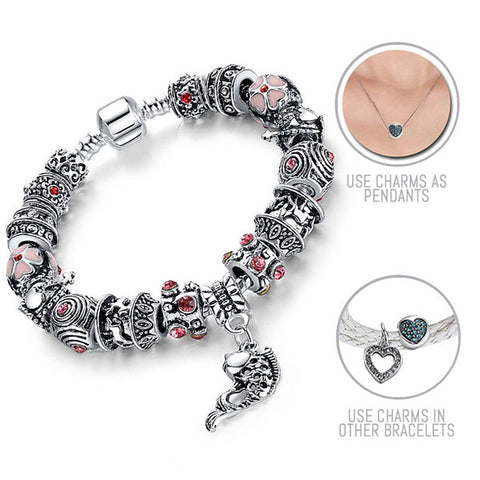 Leaping Koi Fish: Silver Pandora Style Bracelet Combo Set with 16 Charms