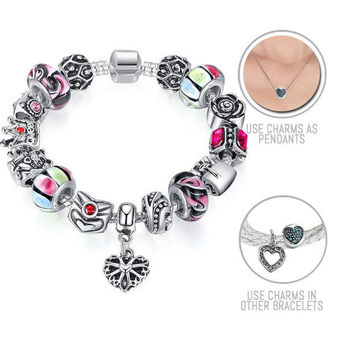 Alice in Wonderland: Silver Pandora Style Bracelet Combo Set with 15 Charms