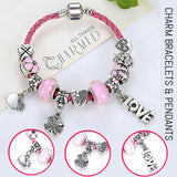 All You Need Is Love: Pink Pandora Style Leather Bracelet Combo Set with 11 Charms