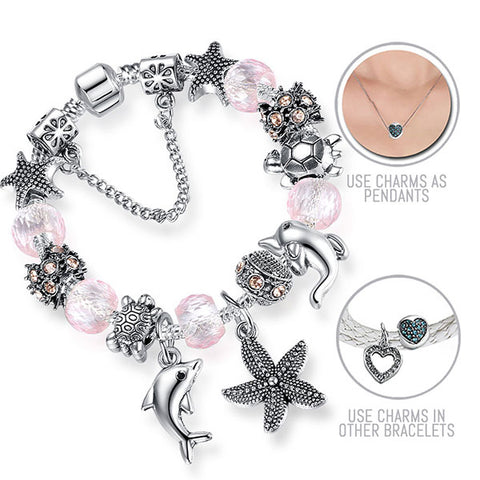 Aloha Hawaii: Silver Pandora Style Bracelet Combo Set with 17 Charms
