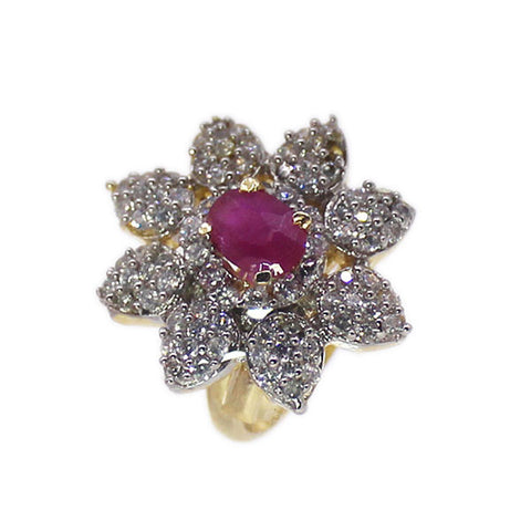 American Diamond Flower with Ruby Cocktail Ring