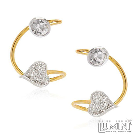 American Diamond Hearts Bohemia Golden Ear Cuffs