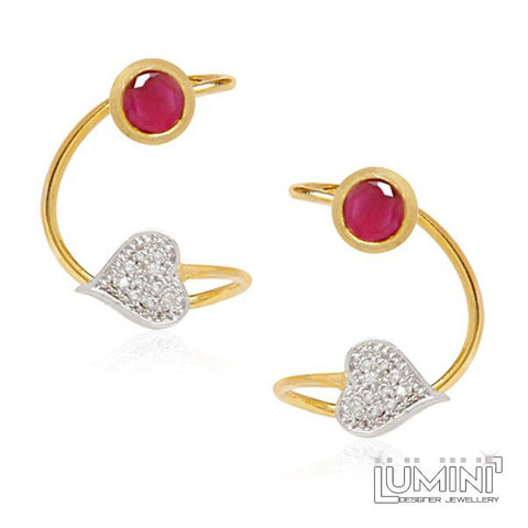 American Diamond Hearts Bohemia Ruby Golden Ear Cuffs