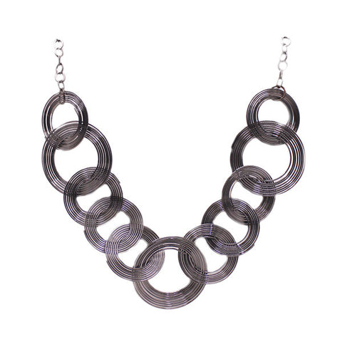 Black Metallic Spirals Necklace