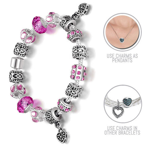 Brilliant Pinks: Silver Pandora Style Bracelet Combo Set with 15 Charms