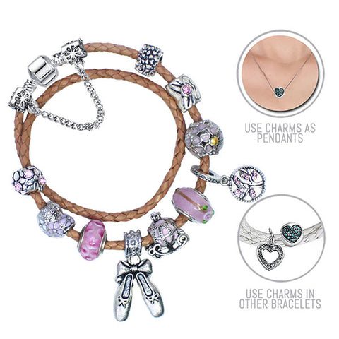 Cinderella: Beige Pandora Style Leather Bracelet Combo Set with 12 Charms
