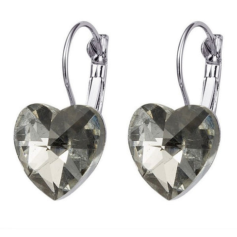 Clear Heart Drop Earrings