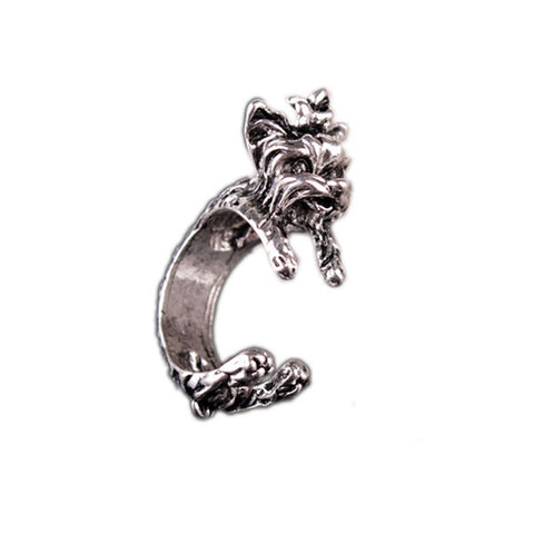 Cute Terrier Doggie Silver Ring