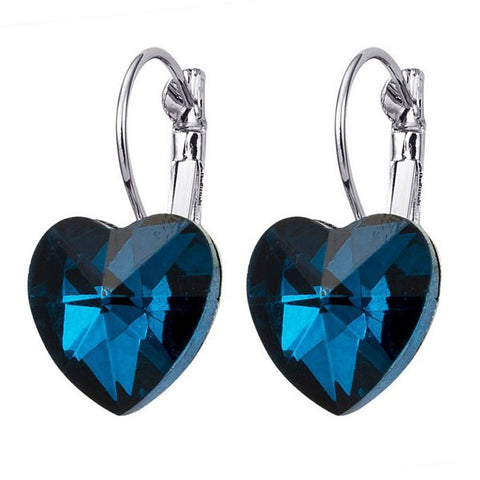 Dark Blue Heart Drop Earrings
