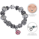 Dash of Pink: Silver Pandora Style Bracelet Combo Set with 15 Charms