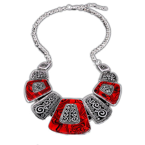 Egyptian Style Silver Choker Bib Necklace